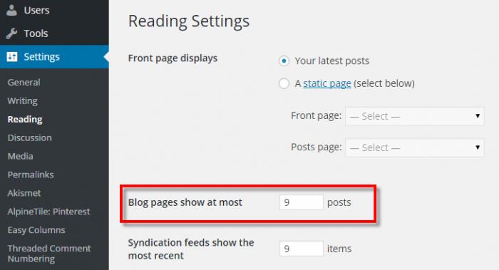 Blog Page Settings