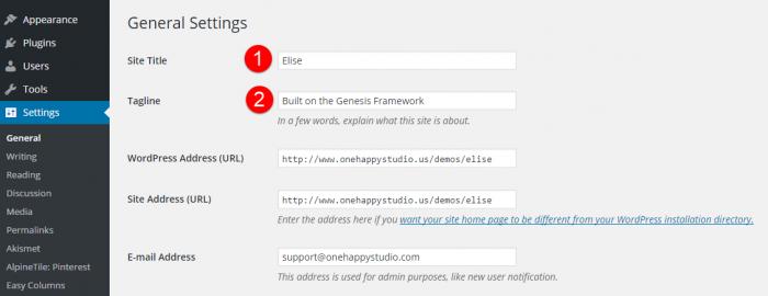 Elise Site Title and Tagline