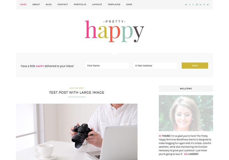 Best Feminine WordPress Themes For Bloggers & Female Entrepreneurs Pretty Happy Premium WordPress theme by Pretty Darn Cute Design