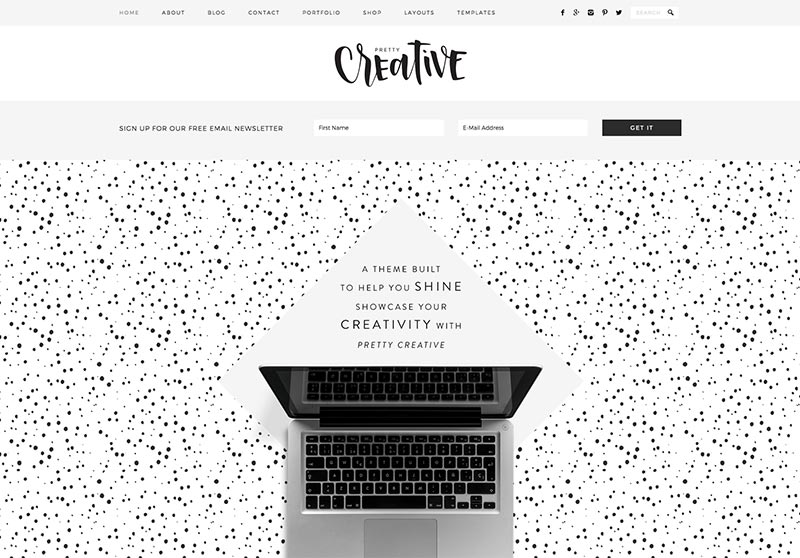 Best Feminine WordPress Themes For Bloggers & Female Entrepreneurs Pretty Creative Premium WordPress Theme by Pretty Darn Cute Design