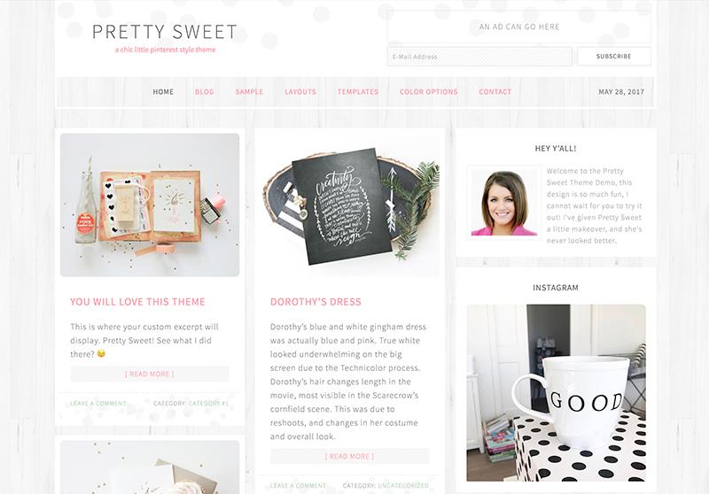 Best Feminine WordPress Themes For Bloggers & Female Entrepreneurs Pretty Sweet Premium WordPress Theme by Pretty Darn Cute Design
