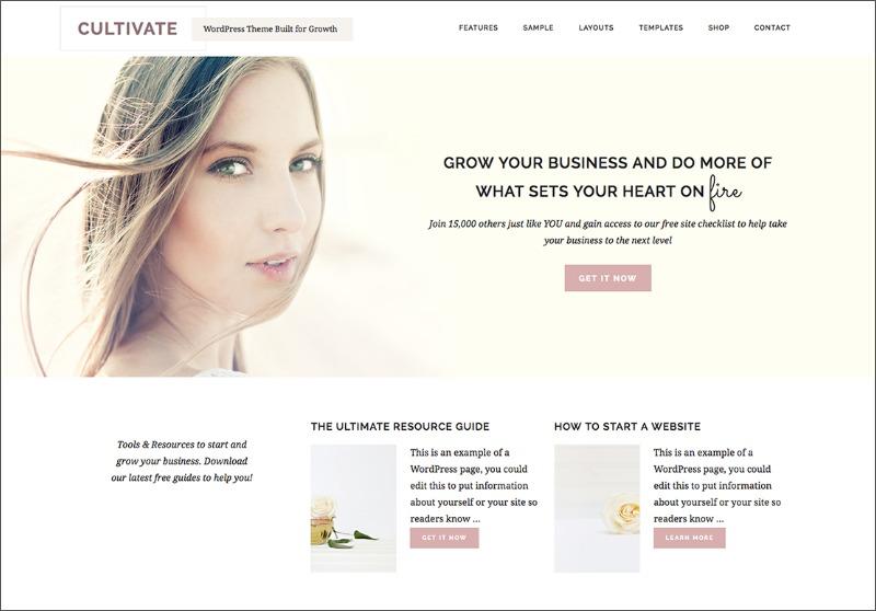 Best Feminine WordPress Themes For Bloggers & Female Entrepreneurs Cultivate Premium WordPress theme by Restored 316