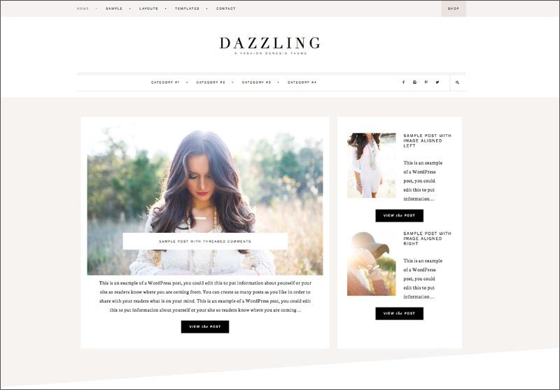 Best Feminine WordPress Themes For Bloggers & Female Entrepreneurs Dazzling Premium WordPress theme by Restored 316