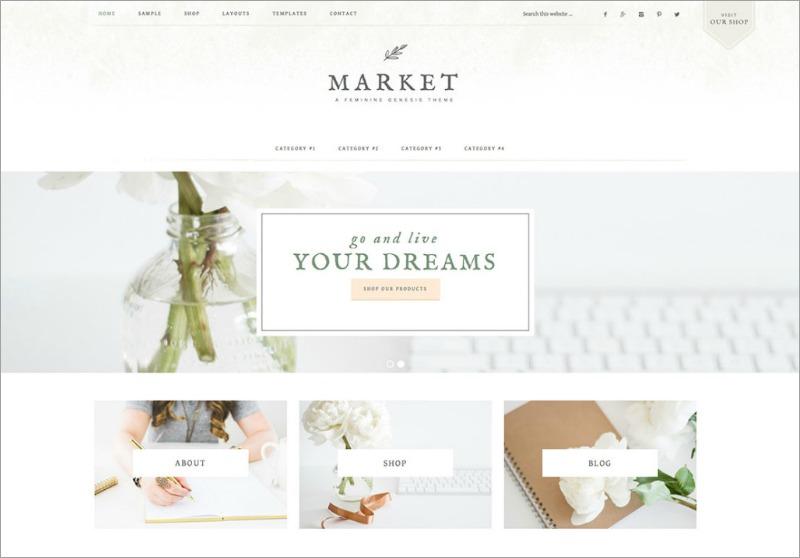 Best Feminine WordPress Themes For Bloggers & Female Entrepreneurs Market Premium WordPress theme by Restored 316