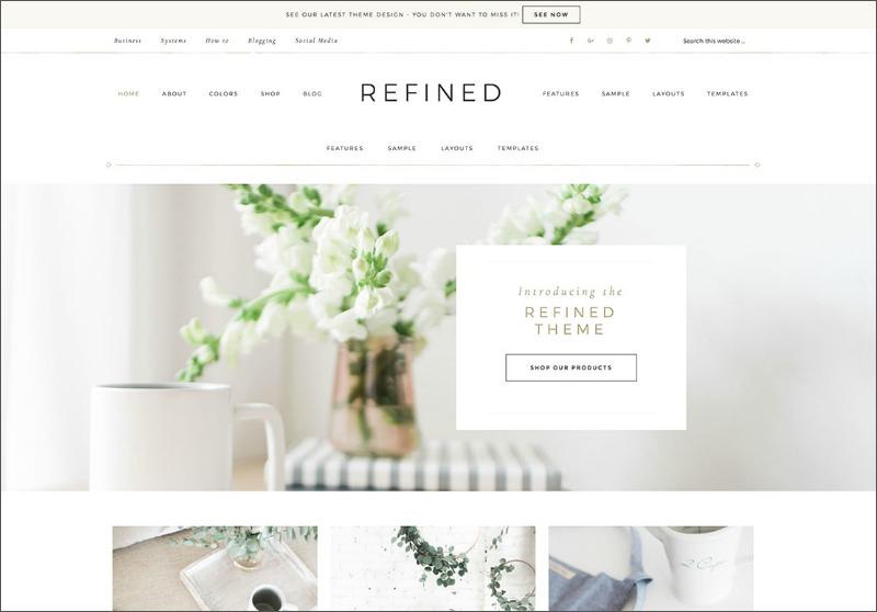 Best Feminine WordPress Themes For Bloggers & Female Entrepreneurs Refined Premium WordPress theme by Restored 316