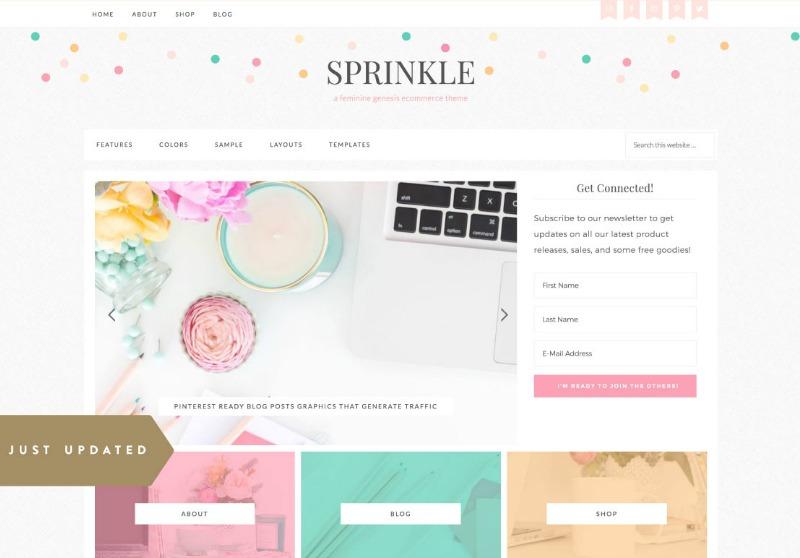 Best Feminine WordPress Themes For Bloggers & Female Entrepreneurs Sprinkle Premium WordPress theme by Restored 316