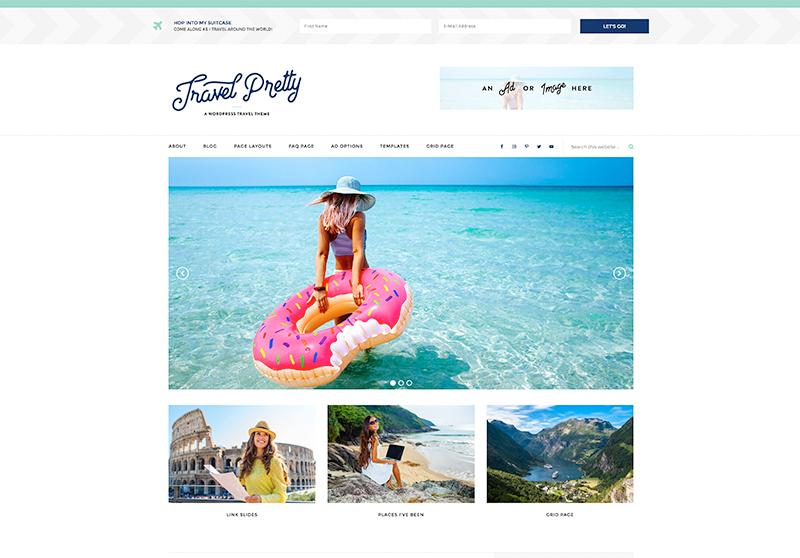 Best Feminine WordPress Themes For Bloggers & Female Entrepreneurs Travel Pretty Premium WordPress Theme by Pretty Darn Cute Design