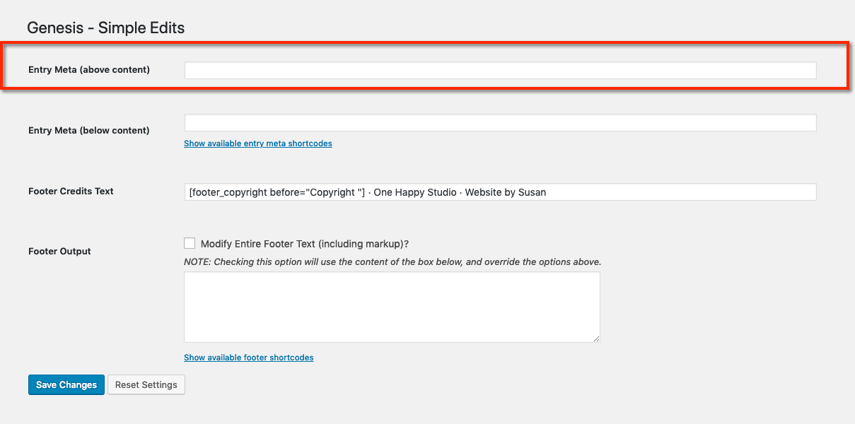 Customize the Post Info (Entry Header) using the Genesis Simple Edits plugin